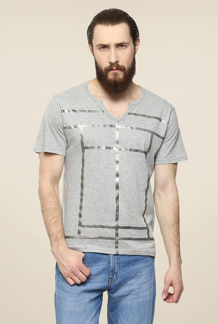 Yepme Grey Metallic Lines Printed T Shirt