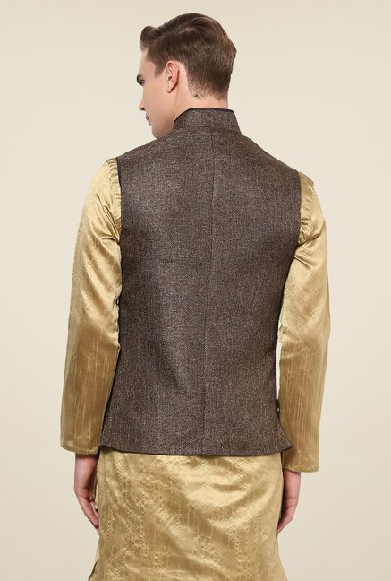 Yepme Brown Alvin Solid Nehru Jacket