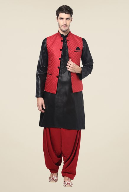 Yepme Red Jason Self Print Nehru Jacket