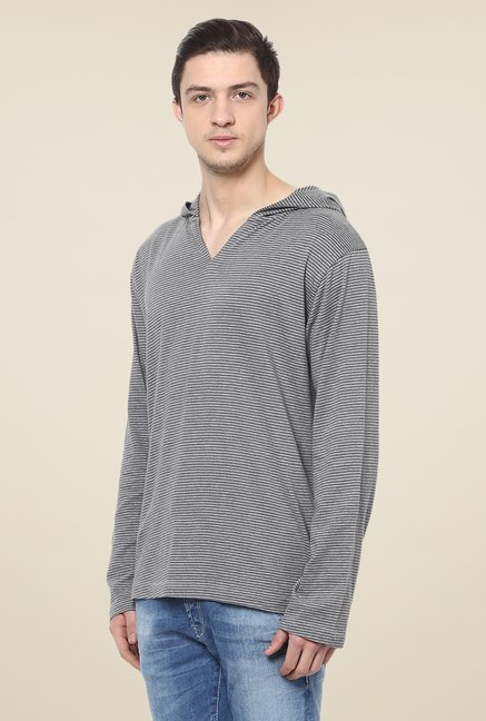 Yepme Francesco Grey Striped T Shirt
