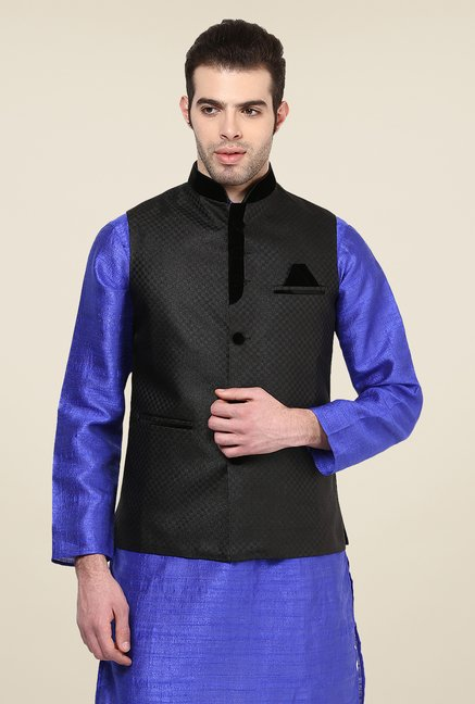 Yepme Black Inrico Self Print Nehru Jacket