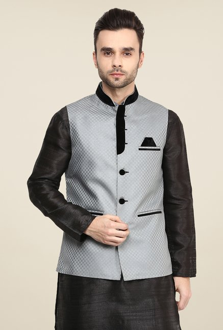 Yepme Grey Inrico Self Print Nehru Jacket