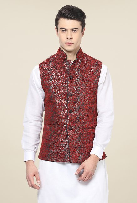 Yepme Red Austin Printed Nehru Jacket