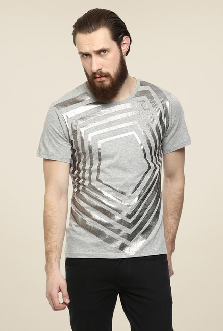 Yepme Grey Pentagon Printed T Shirt