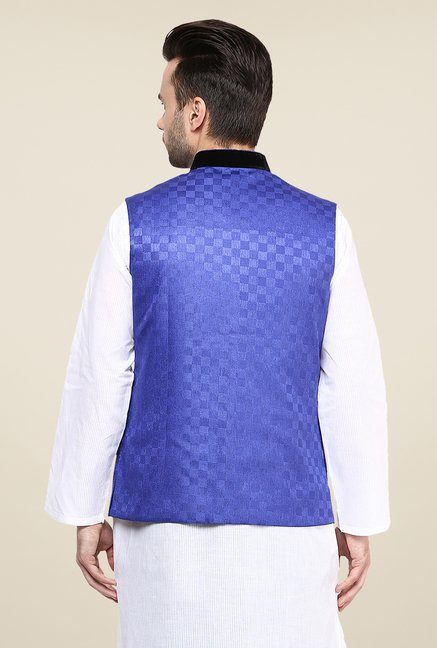 Yepme Blue Inrico Self Print Nehru Jacket