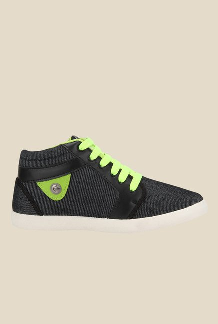 Yepme Black & Green Ankle High Sneakers