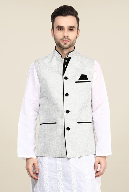 Yepme Off White Ronn Solid Nehru Jacket