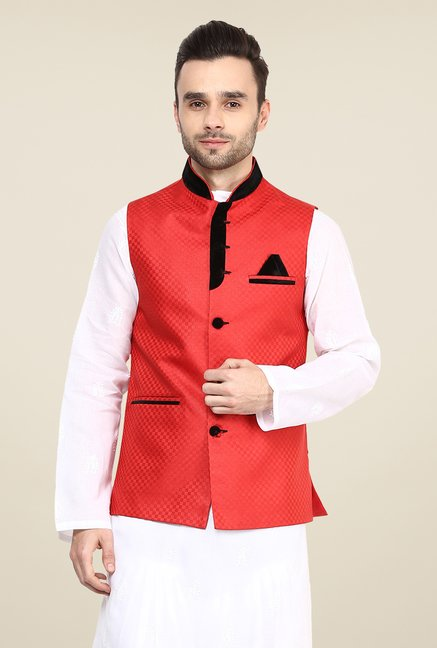 Yepme Red Inrico Self Print Nehru Jacket