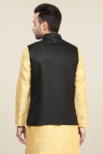Yepme Black Allen Self Print Nehru Jacket