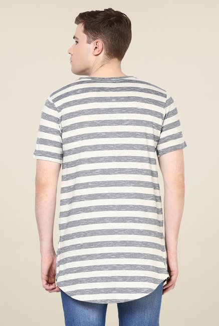 Yepme Grey Nick Longline Striped T Shirt