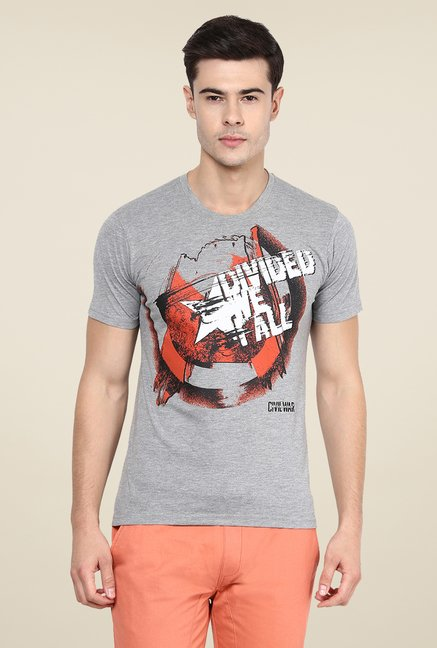 Yepme Star Of Civil War Grey Graphic Print T Shirt