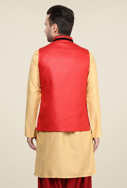 Yepme Red Alec Self Print Nehru Jacket