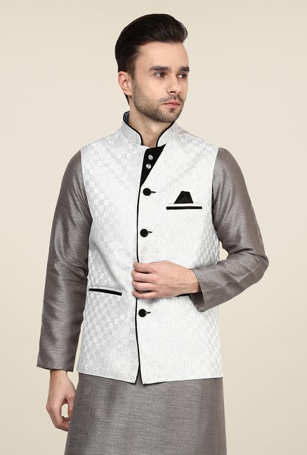 Yepme Off White Kance Self Print Nehru Jacket