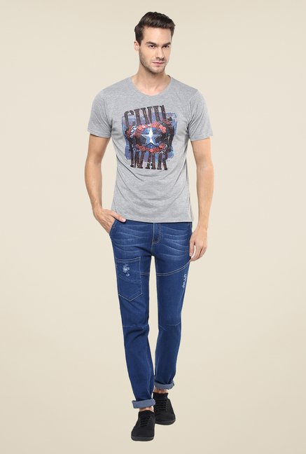 Yepme Grungy Civil War Shield Grey Graphic Print T Shirt