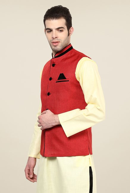 Yepme Red Bret Solid Nehru Jacket