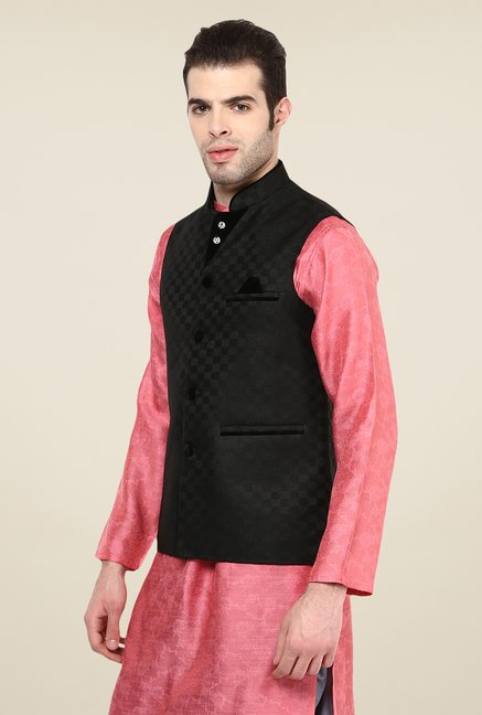 Yepme Black Kance Self Print Nehru Jacket