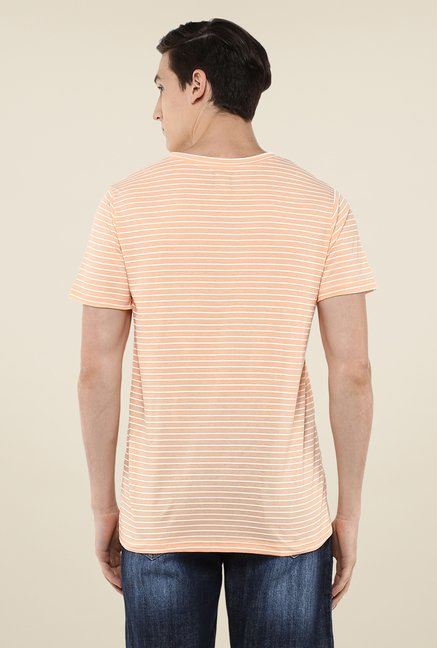 Yepme Trevor Peach Striped T Shirt