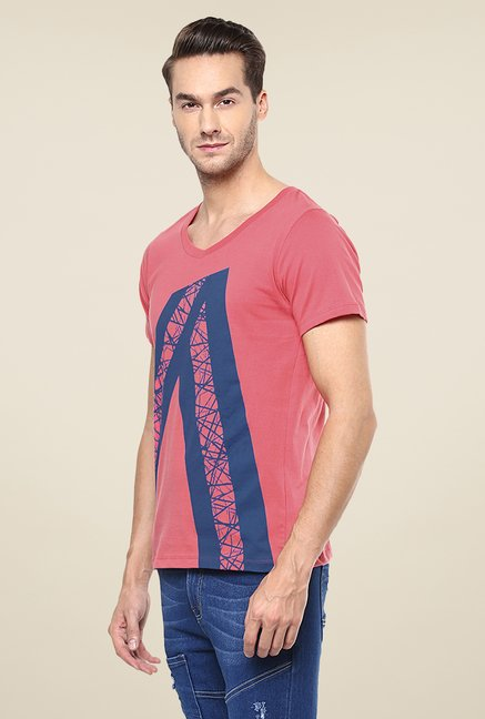 Yepme Pink Angled Stripes T Shirt