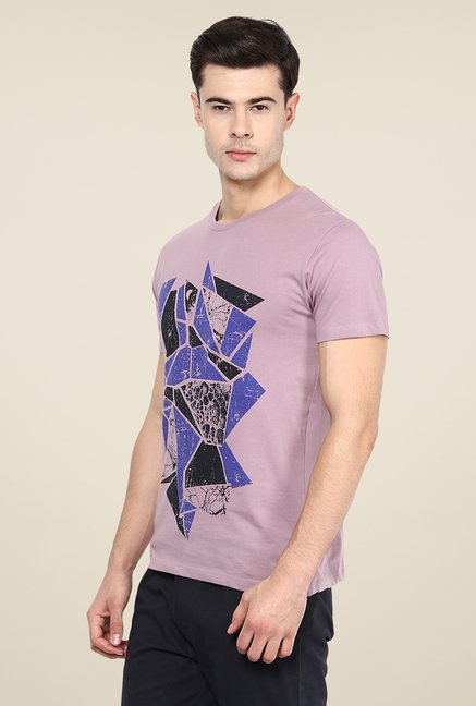 Yepme Mauve Broken Blocks Printed T Shirt
