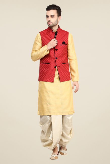Yepme Red Kance Self Print Nehru Jacket