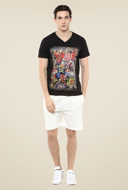 Yepme Marvel Thor Cover Art Black Graphic Print T Shirt