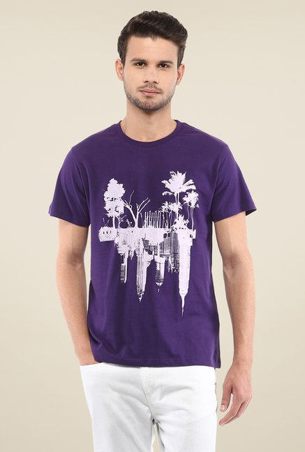 Yepme Mirrored Landscape Purple Printed T Shirt