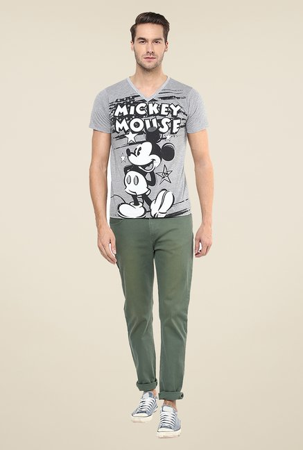 Yepme Disney Mickey Mouse Grey Graphic Print T Shirt
