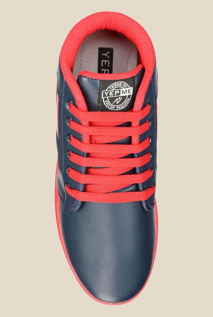 Yepme Navy & Red Ankle High Sneakers