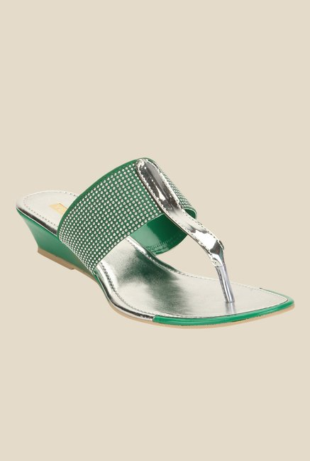 Yepme Green & Silver T-Strap Wedges