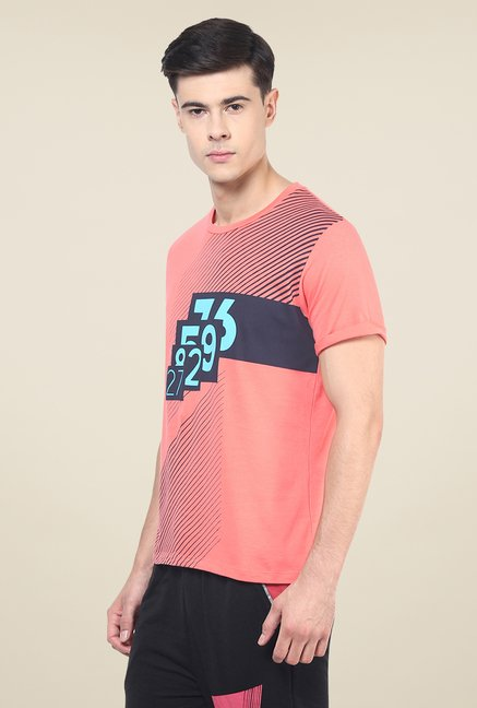 Yepme Orange Lee High Performance Graphic Print T Shirt