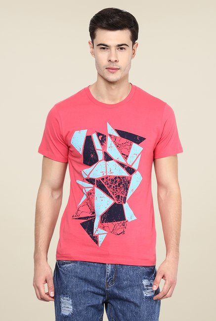 Yepme Coral Broken Blocks Printed T Shirt