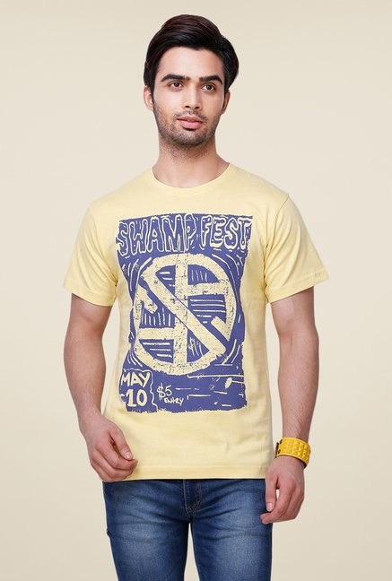 Yepme Swamp Fest Yellow Printed T Shirt