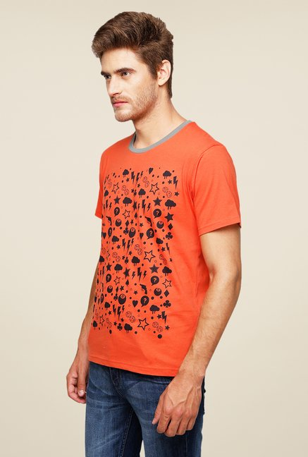 Yepme Scatter Objects Orange Printed T Shirt