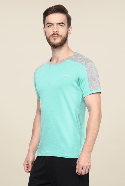 Yepme Tim High Performance Turquoise Solid T Shirt