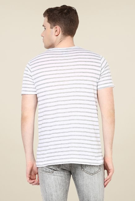Yepme Trevor White Striped T Shirt