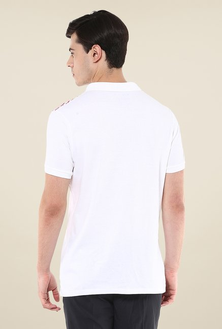 Yepme White Bruno Grid Lock High Performance Polo T Shirt