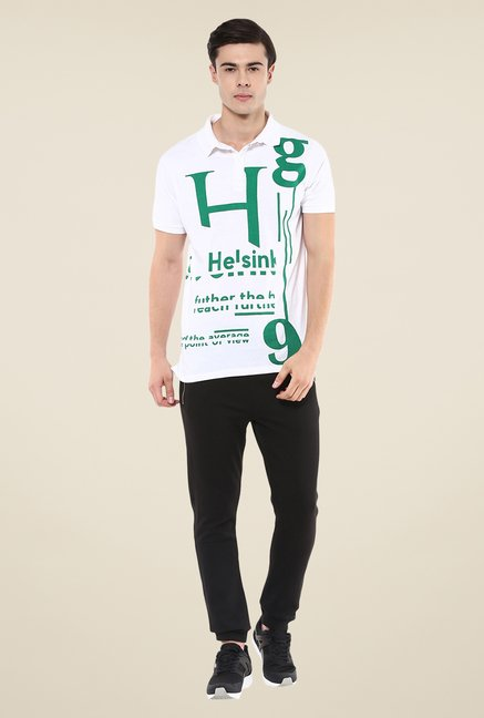 Yepme White Ian Helsink Printed High Performance T Shirt
