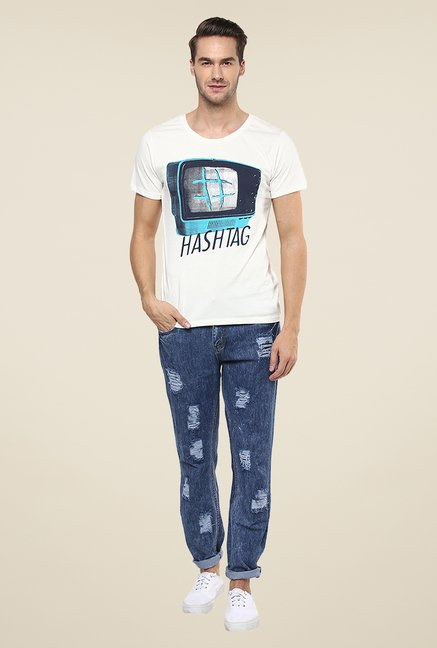 Yepme White Hashtag Graphic Print T Shirt
