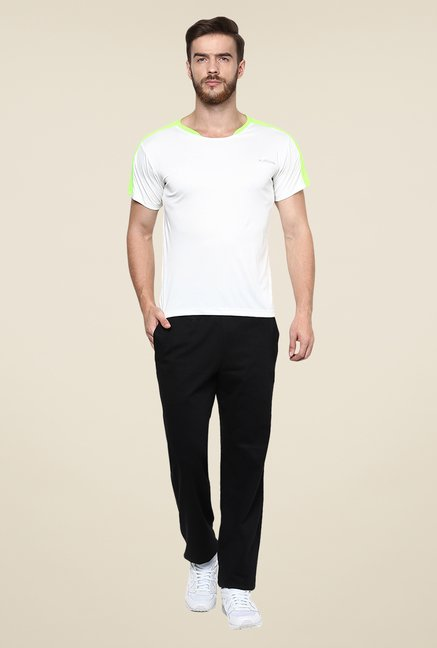 Yepme White Merlin High Performance Active Solid T Shirt