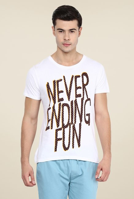Yepme Never Ending Fun White Graphic Print T Shirt