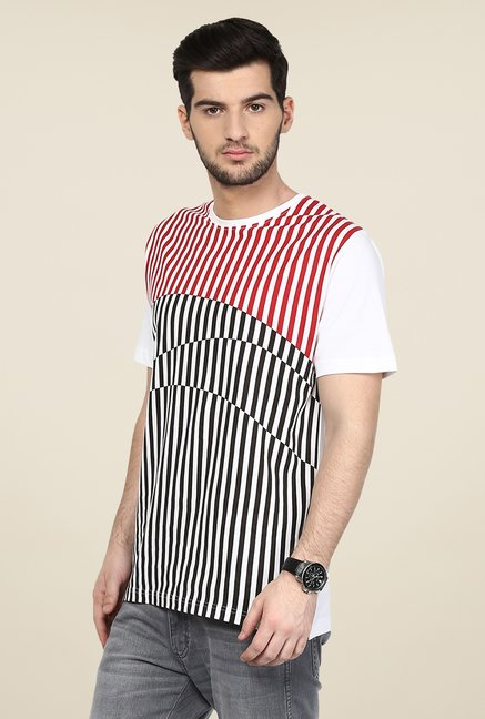 Yepme White Striped T Shirt