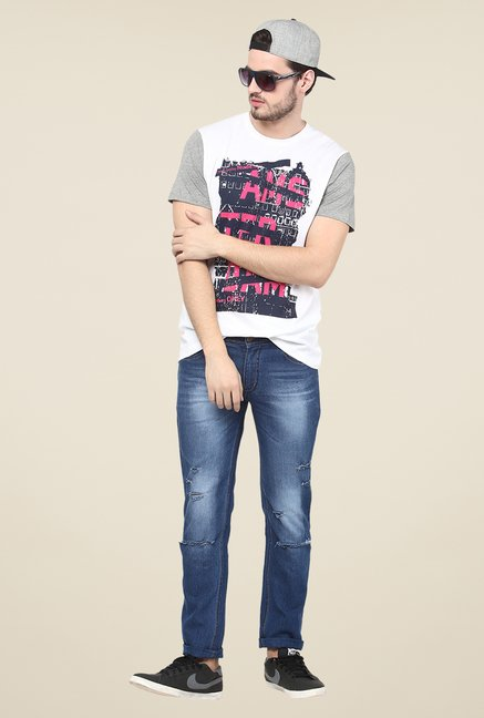 Yepme White Graphic Print T Shirt