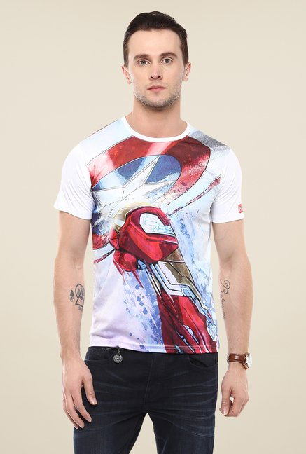 Yepme Civil War Iron Punch White Graphic Print T Shirt