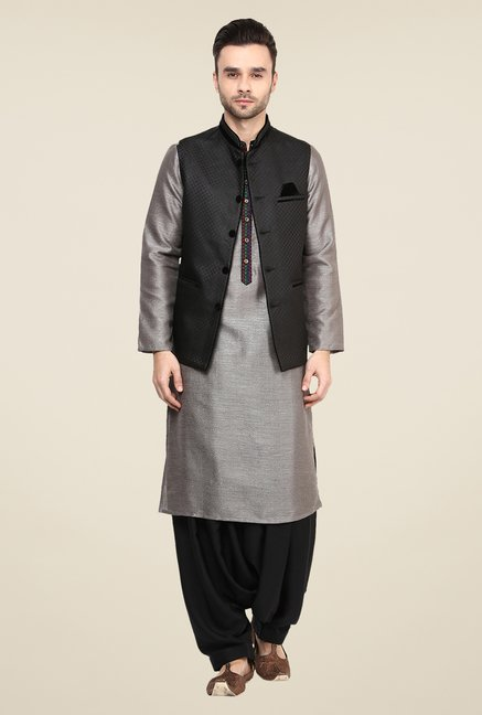 Yepme Black Alec Self Print Nehru Jacket