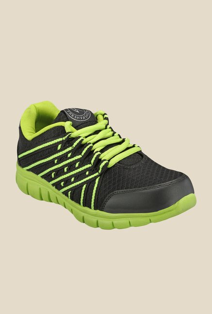 Yepme Garvin Black & Green Running Shoes