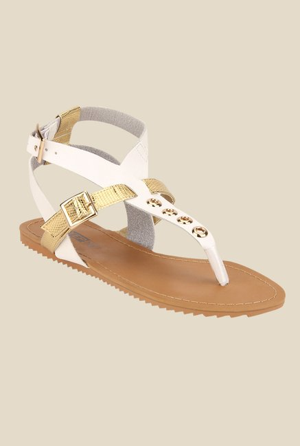 Yepme White & Golden Ankle Strap Sandals