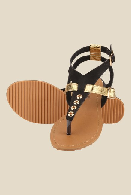 Yepme Black & Golden Ankle Strap Sandals