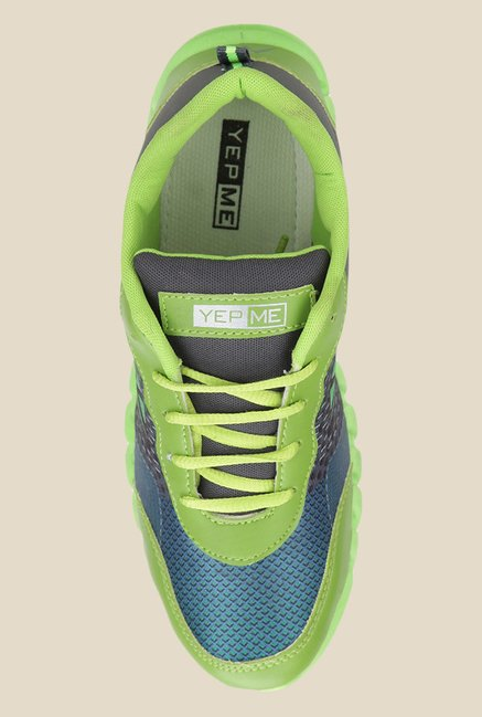 Yepme Neon Green & Grey Running Shoes