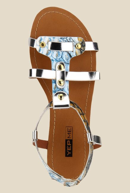 Yepme Blue & Silver Ankle Strap Sandals