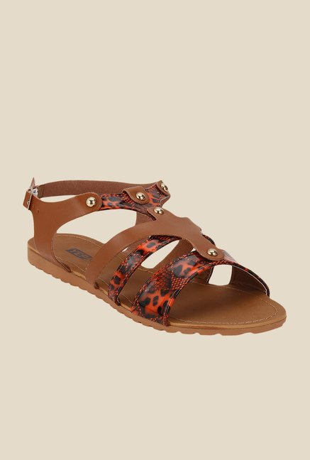 Yepme Brown & Orange Back Strap Sandals
